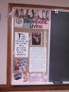 Provident Living/ Self Reliance bulletin boards 1st half 2015 #ReliefSociety #bulletinboard #providentliving #selfreliance Lds, Provident Living, Church Bulletin Boards, Self Reliance, Birthday Calendar, Church Activities, Catechism, Relief Society, Board Ideas