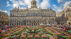 Tulip Day 2017 on The Dam before the Royal Palace in The Netherlands. Free…