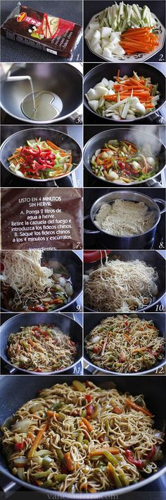 Fideos chinos (noodles) con verduras, paso a paso                                                                                                                                                     Más Plats Sains, Chow Mein, Real Food Recipes, Asian Recipes, Veggie Recipes, Vegetarian Recipes, Yummy Food, Healthy Recipes, Cooking Recipes