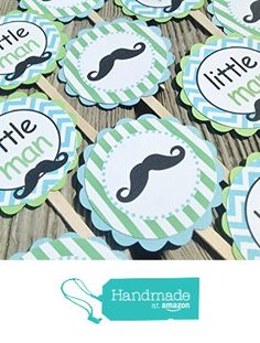 12 - Cupcake Toppers - Vintage Mustache Bash Happy Birthday Collection - Baby Blue Chevron, Lime Green Stripes & Gray, Black and White Accents - Party Packs Available from Emerald City Paperie http://www.amazon.com/dp/B01CS6VV74/ref=hnd_sw_r_pi_dp_bDG5wb0NW4QYJ #handmadeatamazon