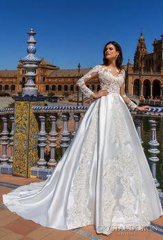 Crystal Design 2017 bridal long sleeves sweetheart neckline heavily  embellished bodice elegant glamorous lace a line 5781c028a69b