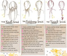 Braid chart: how to knot, fishbone and twist #hair