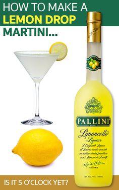 How to make a Lemon Drop Martini. Who loves martinis? How to make a Lemon Drop Martini. Who loves martinis? Drinks With Lemoncello, Lemon Martini, Limoncello Cocktails, Limoncello Recipe, Martinis, Italian Cocktails, Lemonchello Drinks, Cocktail Drinks, Mint