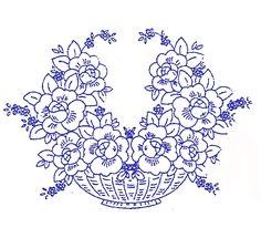 POLŠTÁŘE | Polštář 61 | Předtisky na vyšívání - Olga Synková Helga Embroidery Transfers, Hand Embroidery Patterns, Old School Rose, Tole Painting, Flower Basket, Needlework, Applique, Sketches, Sewing