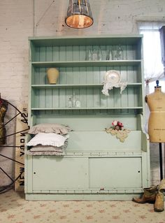 modern french  hutch for kitchen/dining area   ... ANNE Painted Cottage Chic Shabby Mint Green Farmhouse Hutch CC340