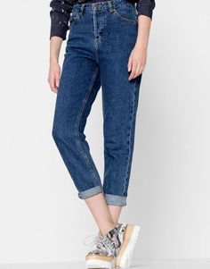 Pull&Bear - mujer - ropa - jeans - jeans mom fit - azul oscuro - 05689309-V2017