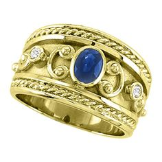 Allurez Oval Blue Sapphire & Diamond Byzantine Ring 14k Yellow Gold (0.73ct) (€1.035) found on Polyvore featuring jewelry, rings, wide gold band ring, 14k yellow gold ring, 14k ring, yellow gold rings and bezel set diamond ring