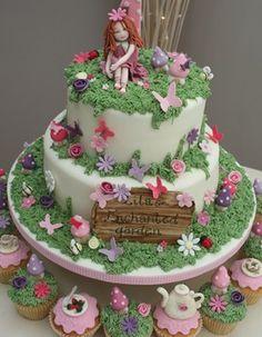 fairy and garden cake design
