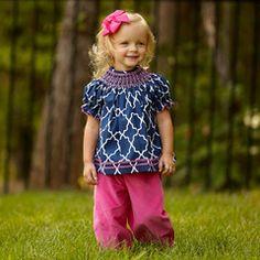 Baby Girls Navy Lattice Smock Bloomer Set