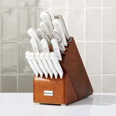 Wusthof Gourmet White 18-Piece Knife Set with Natural Wood Block | Crate and Barrel Kitchen Cutlery, Kitchen Knives, Custom Napkins, Shower Outfits, Steak Knives, Stainless Steel Kitchen, Chef Knife, Knife Sets, Wood Blocks