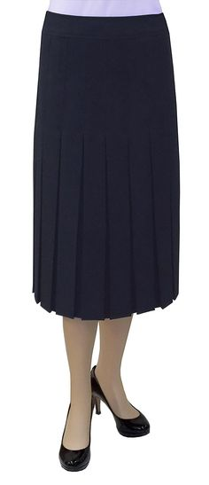 BABY'O Women's 2' Narrow Box Pleated Below the Knee Length Skirt -- Check this awesome product by going to the link at the image.