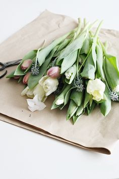 Spring bouquet in recycled paper