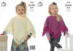 knitted poncho patterns for children | 3338 | Knitting Pattern | Ponchos 3 | King Cole Ltd