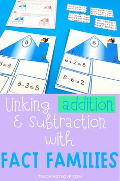 Teaching fact families to your first grade and 2nd grade students is made easier if you follow the CRA model. Read how you can help your students generate addition and subtraction problems using concrete and semi-concrete materials. Then introduce them to fact family houses to help them solve them. Use this fun fact family activity can be used in your math centers with small groups or individual students.