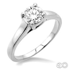Round Cut Diamond Solitaire Ring in 14K White Gold