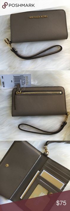 MICHAEL KORS iphone/wallet wristlet Dark dune iPhone wallet wristlet with goldtone hardware by Michael Kors. New! Authentic trades Michael Kors Bags Wallets