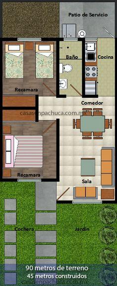 plano casas en pachuca 2 recámaras