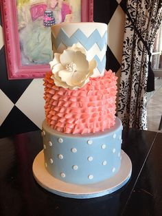 Grey-Blue & Coral Wedding Cake with Chevron & Ruffle Details - instead of coral, mint.