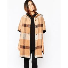 Warehouse Checked Cape (€68) ❤ liked on Polyvore featuring outerwear, multi and cape coat