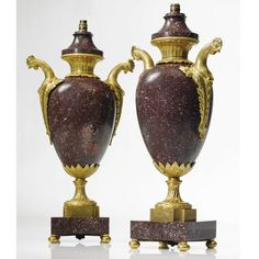 A pair of Louis XVI style ormolu-mounted porphyry vases 19th century Estimate 6,000 — 9,000 USD LOT SOLD. 18,750 USD (Hammer Price with Buyer's Premium)