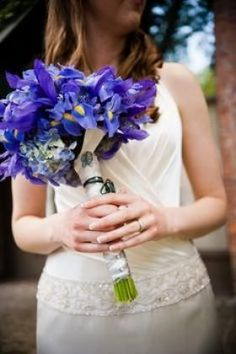 Pioneer Square, Seattle, WA: Hand-tied bouquet with purple iris, blue hydrangea and agapanthus accents. The bride added special keepsakes from her family. Blue Purple Wedding, Purple Wedding Bouquets, Blue Hydrangea Bouquet, Hand Tied Bouquet, Purple Iris, Flower Arrangements, To My Daughter, Wedding Photography, Irises