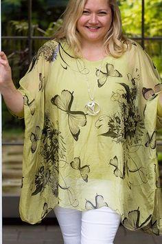 Plus Size Lime Green Butterflies Design Silk Top - Mandy's Heaven   - 1