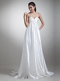 Sheer Straps Empire Elastic Satin Wedding Dress with Applique and Pleating