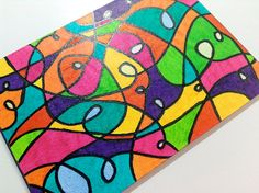 Original Art ACEO ATC - Neon Vacation - Abstract Glitter Colorful Design - OOAK Small Art