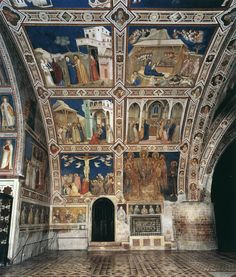 Lower church in the Basilica of St. Francis of Assisi. These frescoes depict scenes from the life of Christ. They are in the transept area. Beautiful Architecture, Architecture Art, St Francis Assisi, Saint Francis, Assissi Italy, Madonna, Life Of Christ, Late Middle Ages, Italian Painters