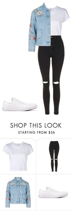 """Untitled #361"" by jenithomas on Polyvore featuring RE/DONE, Topshop and Converse"