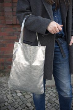 Silver Leather Tote every day tote bag silver mini by PatkasBerlin, $120.00