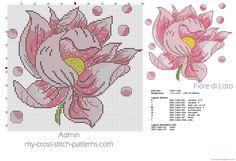 Fleur de Lotus grille point de croix 100 x 92 croix