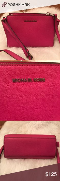 c48b6b80f2da Michael Kor s LAST PRICE DROP😍❤ Size small beautiful pink with silver  hardware in EUC dimensions are Michael Kors Bags Crossbody Bags