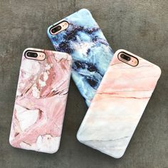 A few of our best sellers for iPhone 7 & iPhone 7 Plus  The Marble Case in Rose, Smoked Coral & Geode from Elemental Cases