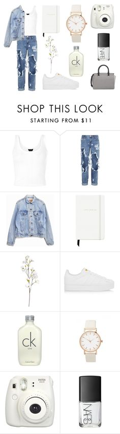 """""""Double Denim"""" by bbernie ❤ liked on Polyvore featuring One Teaspoon, Levi's, Kate Spade, OKA, adidas Originals, Calvin Klein, NARS Cosmetics, MICHAEL Michael Kors, chic and white"""