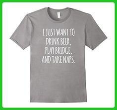 Mens Funny Bridge Beer and Naps Card Game T-Shirt 2XL Slate - Food and drink shirts (*Amazon Partner-Link)