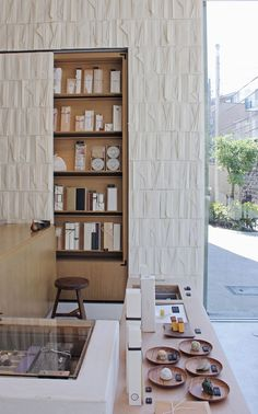 where do people come up with these ideas? visionaries Folded paper-covered wall in a Tokyo tea shop Interior Architecture, Interior And Exterior, Interior Design, Wall Finishes, Restaurants, Retail Space, Commercial Interiors, Wall Treatments, Tile Patterns