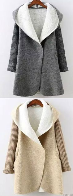 Fall Outfits - EKhaki & Grey Hooded Long Sleeve Pockets Sweater Coat from romwe.com