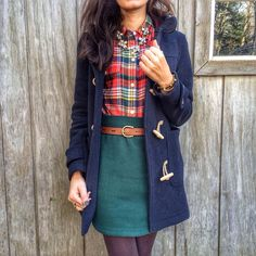 Blue Jacket, Green Pencil Skirt, Plaid Shirt