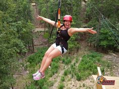 Zip line through the tree tops in Broken Bow, Oklahoma with Rugaru Adventures. See if you can spot Bigfoot while soaring above the woods at top speeds of 35 mph.