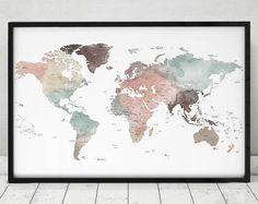 Imprimer carte détaillée du monde, vaste monde carte affiche, carte de voyage pastel, carte du monde avec les noms de pays et les frontières, décor de bureau, ArtPrintsVicky.