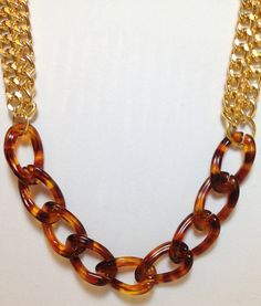 Gold Statement Necklace chunky necklace statement jewelry chain link tortoise RUMOR HAS IT. $32.99, via Etsy.