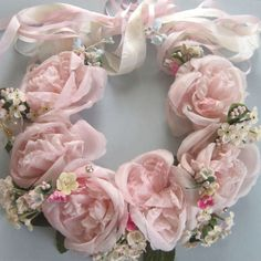 Vintage MILLINERY Tiara Wreath Necklace PINK ROSES Forget-Me-Nots SILK Ribbons | eBay