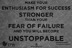 Make your enthusiasm for success stronger than your fear of failure and you will become unstoppable. Yeah baby, this is totally  #WildlyAlive! #selflove #fitness #health #nutrition #weight #loss LEARN MORE →  www.WildlyAliveWeightLoss.com