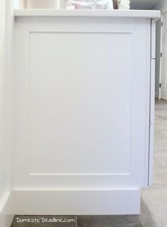 DIY End Panels - Cost effective solution to customize kitchen cabinets for my farmhouse fixer upper kitchen - Domestic Deadline Kitchen Cabinets End Panels, Stock Cabinets, Refacing Kitchen Cabinets, Diy Cabinets, Kitchen Redo, Kitchen And Bath, Kitchen Design, Kitchen Ideas, Kitchen Cabinetry