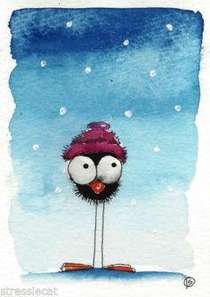 ACEO Print Watercolor Painting Folk Art Whimsical Bird Crow Snow Wool Hat | eBay