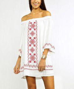 Look at this #zulilyfind! White Geometric Off-Shoulder Dress #zulilyfinds