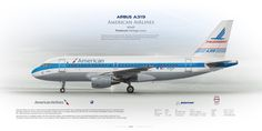posterjet  Airbus A319 American Airlines N744P Piedmont Heritage Livery | www.aviaposter.com | Civil aircraft art print | #scetch #art #airliners #aviation #aviaposter #jetliner