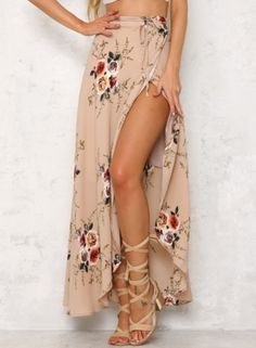 Casual High Slit Floral Printed Irregular Skirt AZBRO.com