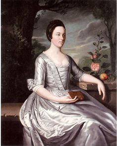 Early American Gardens: Design - Walls - this appears to be an English gown with robings and a stomacher, but a drop-front skirt that ties in the back?